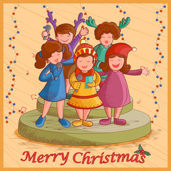 Kids singing Carol for festival Merry Christmas holiday background