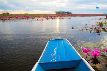 Boat on The Red Lotus Sea lake,Thailand