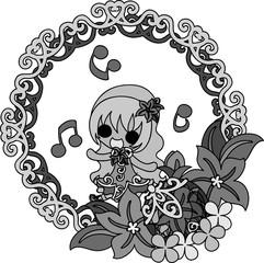 My original illustration of stylish girls and ornaments