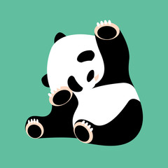 panda bear vector illustration style Flat