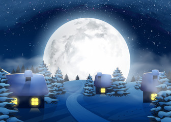 Christmas Winter Big Full Moon Night Landscape with Small Houses for Postcard Website Graphic Congratulation Printed Material. Happy New Year 2017. Vector Illustration Background in Cartoon Style