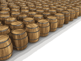 wine barrels. Image with clipping path