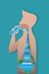 Drinking Water Feel Fresh, vector illustration