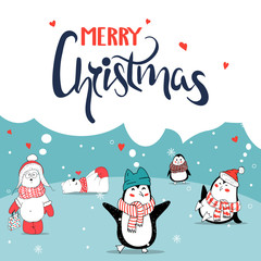 Merry Christmas greeting card. Cute penguin and bear