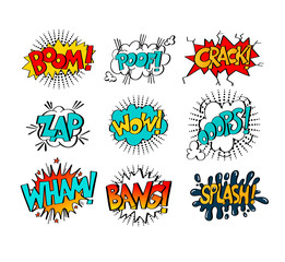 collection of nine multicolored comic sound effects in pop art s
