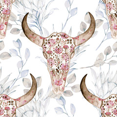 Watercolor seamless pattern with skull, peony, protea. Decoration exotic ethnic print