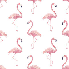 Tuinposter Flamingo Watercolor seamless pattern with exotic flamingo. Summer decoration print