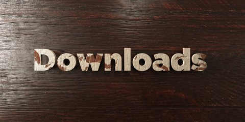 Downloads - grungy wooden headline on Maple  - 3D rendered royalty free stock image. This image can be used for an online website banner ad or a print postcard.