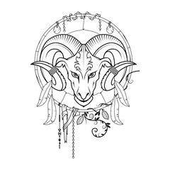 Dream catcher with the head of the ram