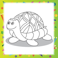 Illustration of Cartoon turtle - Coloring book