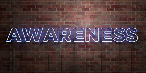 AWARENESS - fluorescent Neon tube Sign on brickwork - Front view - 3D rendered royalty free stock picture. Can be used for online banner ads and direct mailers..