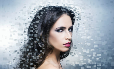 Portrait of a young beautiful woman in pixel style