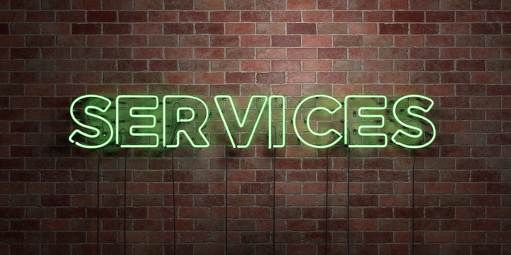 SERVICES - fluorescent Neon tube Sign on brickwork - Front view - 3D rendered royalty free stock picture. Can be used for online banner ads and direct mailers..