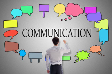 Communication concept drawn by a businessman