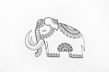 Sketch of elephant with patterns on a white background.