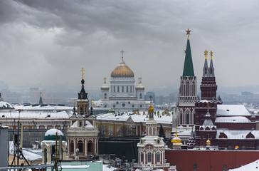 Panorama of Moscow, Kremlin and old Churches during a gray cold winter day.
