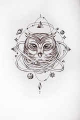 Sketch of owl surrounded by the universe on white background.