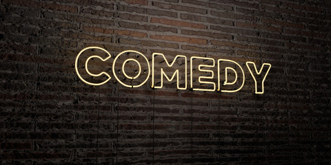 COMEDY -Realistic Neon Sign on Brick Wall background - 3D rendered royalty free stock image. Can be used for online banner ads and direct mailers..