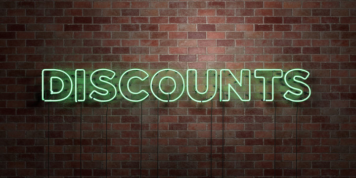 DISCOUNTS - fluorescent Neon tube Sign on brickwork - Front view - 3D rendered royalty free stock picture. Can be used for online banner ads and direct mailers..