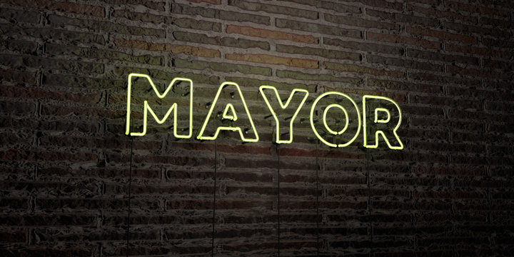 MAYOR -Realistic Neon Sign on Brick Wall background - 3D rendered royalty free stock image. Can be used for online banner ads and direct mailers..