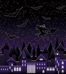 Night city and  flying beautiful sexy witch silhouette, seamless pattern, vector illustration