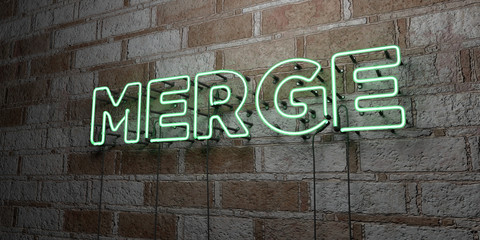 MERGE - Glowing Neon Sign on stonework wall - 3D rendered royalty free stock illustration.  Can be used for online banner ads and direct mailers..