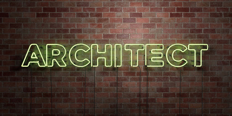 ARCHITECT - fluorescent Neon tube Sign on brickwork - Front view - 3D rendered royalty free stock picture. Can be used for online banner ads and direct mailers..