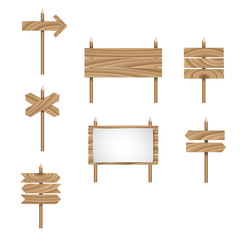 Wood arrow sign vector set. Wooden signboard. Vector illustration