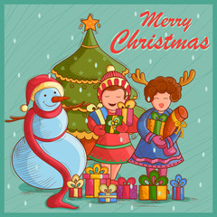 Kid with gift and Snowman for festival Merry Christmas holiday background