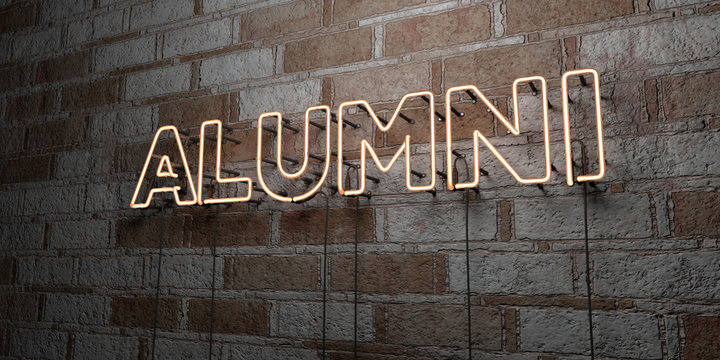 ALUMNI - Glowing Neon Sign on stonework wall - 3D rendered royalty free stock illustration.  Can be used for online banner ads and direct mailers..