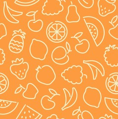 Seamless pattern with contours of fruit