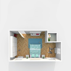 3d interior rendering of furnished bedroom with small balcony