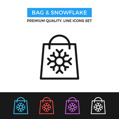 Vector bag and snowflake icon. Winter shopping concepts. Thin line icon