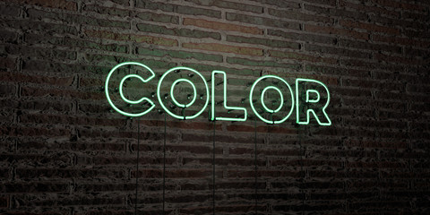 COLOR -Realistic Neon Sign on Brick Wall background - 3D rendered royalty free stock image. Can be used for online banner ads and direct mailers..