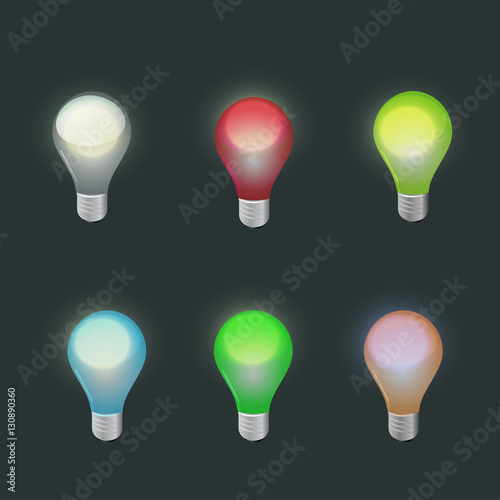 light bulbs in different colors stock image and royalty free vector files on pic. Black Bedroom Furniture Sets. Home Design Ideas