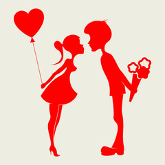 Silhouette of a boy and girl