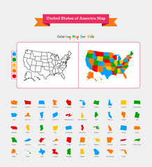 USA map. coloring map for kids. complete with region icons