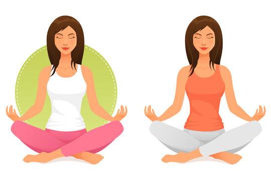 beautiful young woman meditating or relaxing with closed eyes