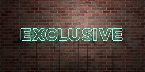 EXCLUSIVE - fluorescent Neon tube Sign on brickwork - Front view - 3D rendered royalty free stock picture. Can be used for online banner ads and direct mailers..