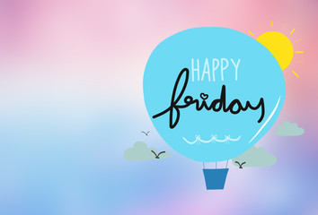Happy Friday Balloon cartoon illustration on pink gradient background