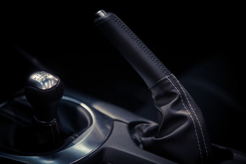 Parking brake lever and gear shifter detail