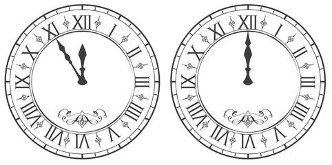 Clock with Roman numerals. New Year midnight 12 Fotoväggar