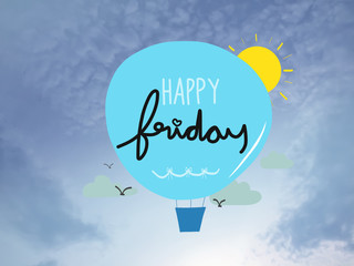 Happy Friday Balloon cartoon on blue sky