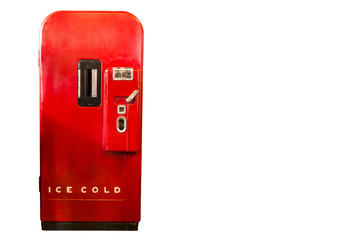 Red refrigerator in retro style.On the white background.