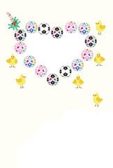 ひよことサッカーボールの可愛いメッセージカード
