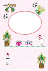 トリとサッカーボールとキッズのメッセージカード