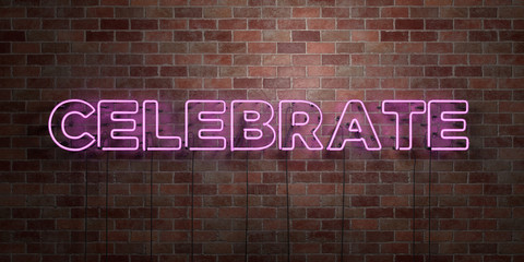 CELEBRATE - fluorescent Neon tube Sign on brickwork - Front view - 3D rendered royalty free stock picture. Can be used for online banner ads and direct mailers..