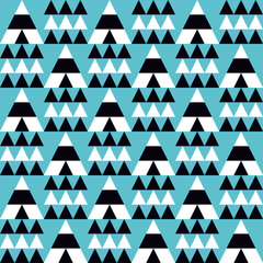 Wigwam and trees triangles seamless pattern