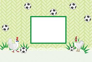 ニワトリとサッカーボールのグリーンの可愛いメッセージカード 酉年