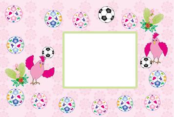 ニワトリとサッカーボールのピンクの可愛いメッセージカード 酉年